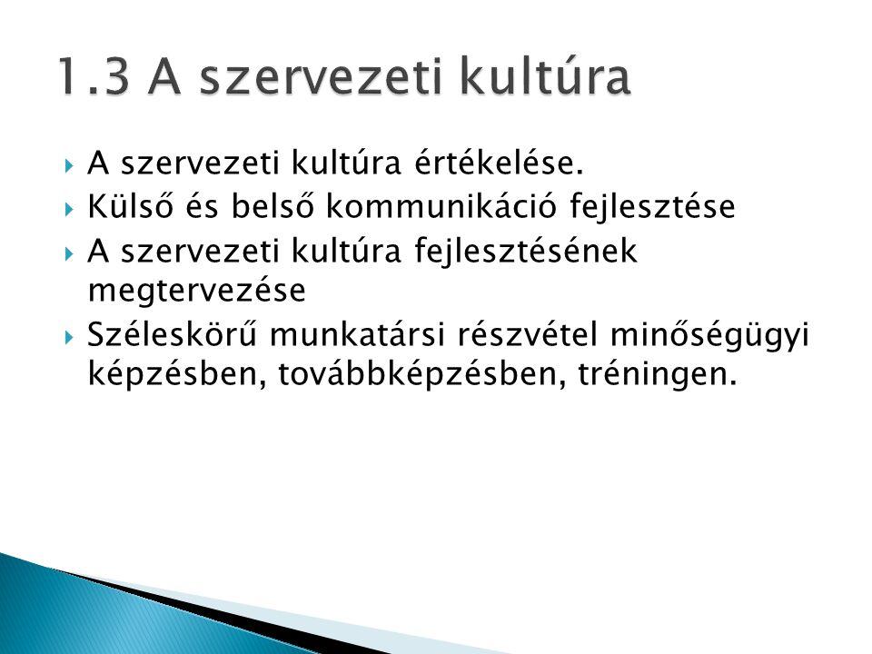 1.3 A szervezeti kultúra A szervezeti kultúra értékelése.