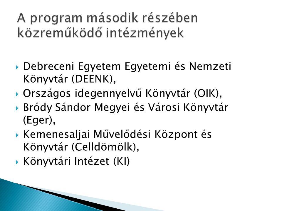 A program második részében közreműködő intézmények