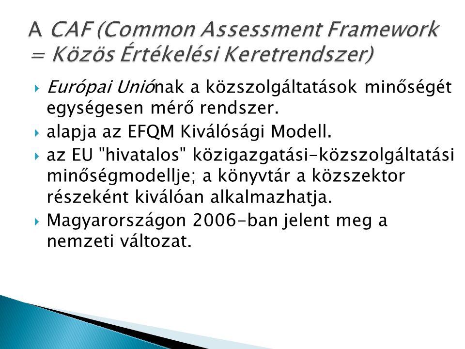 A CAF (Common Assessment Framework = Közös Értékelési Keretrendszer)