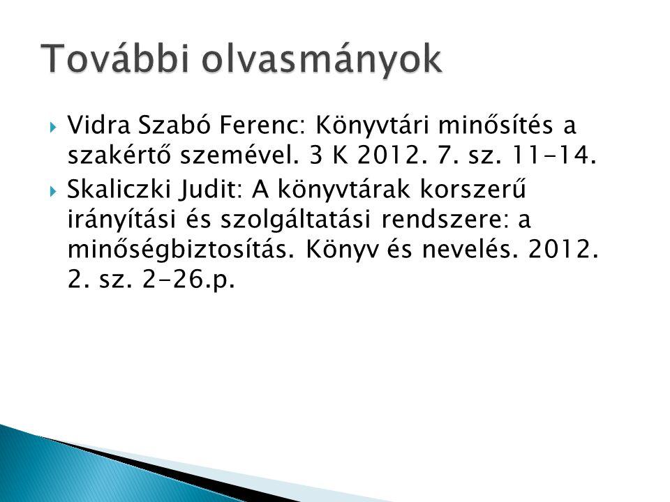 További olvasmányok Vidra Szabó Ferenc: Könyvtári minősítés a szakértő szemével. 3 K 2012. 7. sz. 11-14.