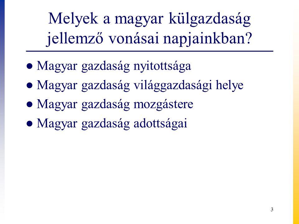 Melyek a magyar külgazdaság jellemző vonásai napjainkban
