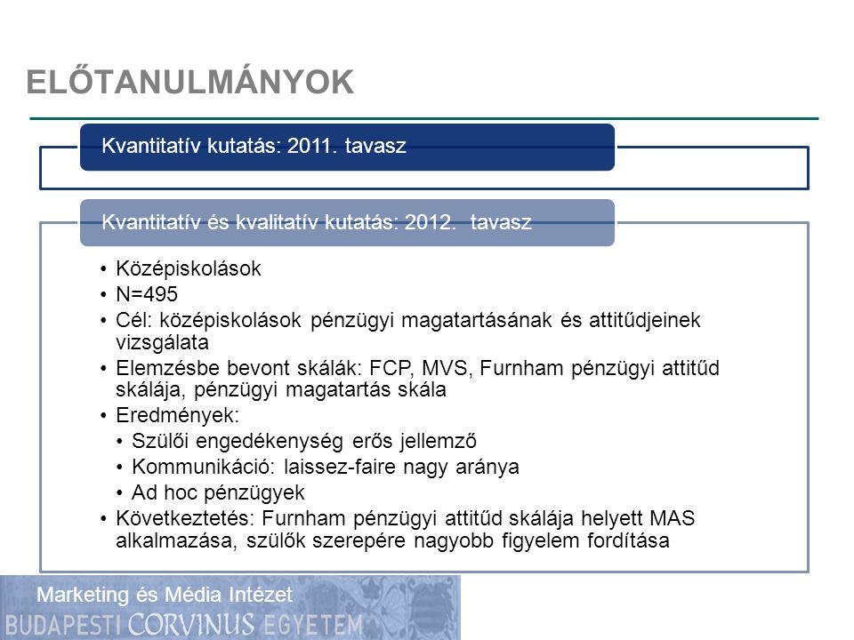 ELŐTANULMÁNYOK Kvantitatív kutatás: 2011. tavasz Középiskolások N=495