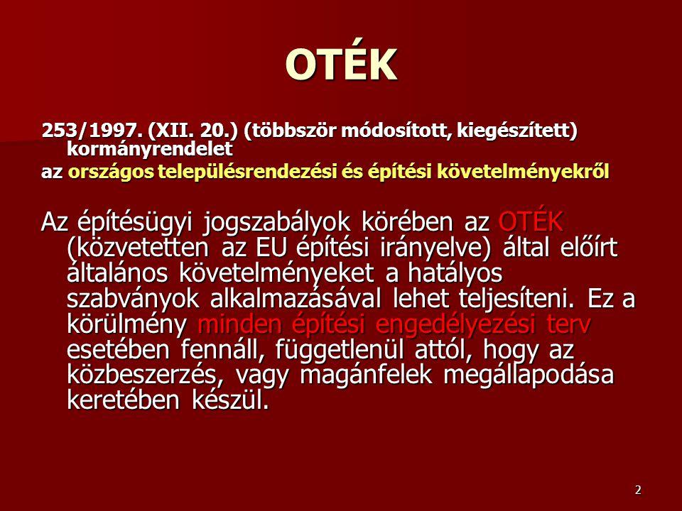 OTÉK 253/1997. (XII. 20.) (többször módosított, kiegészített) kormányrendelet. az országos településrendezési és építési követelményekről.