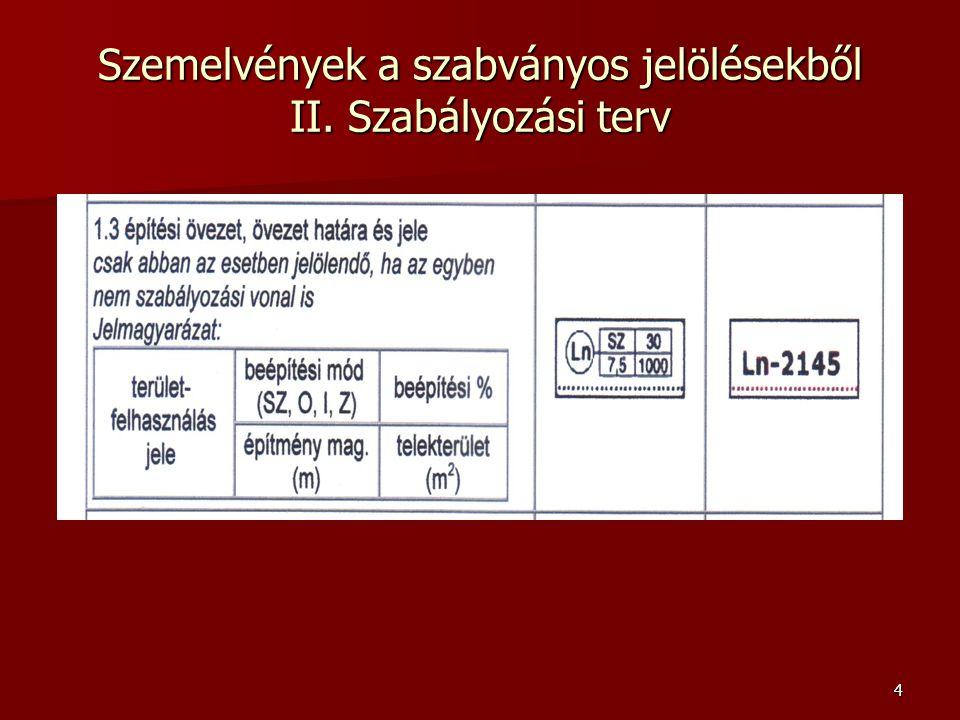 Szemelvények a szabványos jelölésekből II. Szabályozási terv