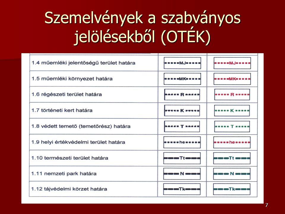 Szemelvények a szabványos jelölésekből (OTÉK)