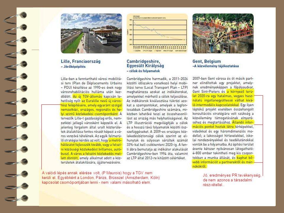 A valódi lépés annak elérése volt, (P Maurois) hogy a TGV nem kerüli el. Egyébként a London, Párizs, Brüsszel (Amszterdam, Köln) kapcsolat csomópontjában lenni - nem valami másolható elem.