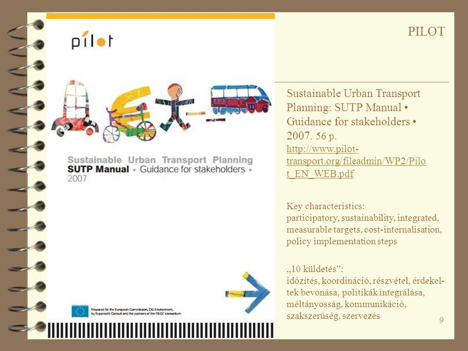 PILOT Sustainable Urban Transport Planning: SUTP Manual • Guidance for stakeholders • 2007. 56 p.
