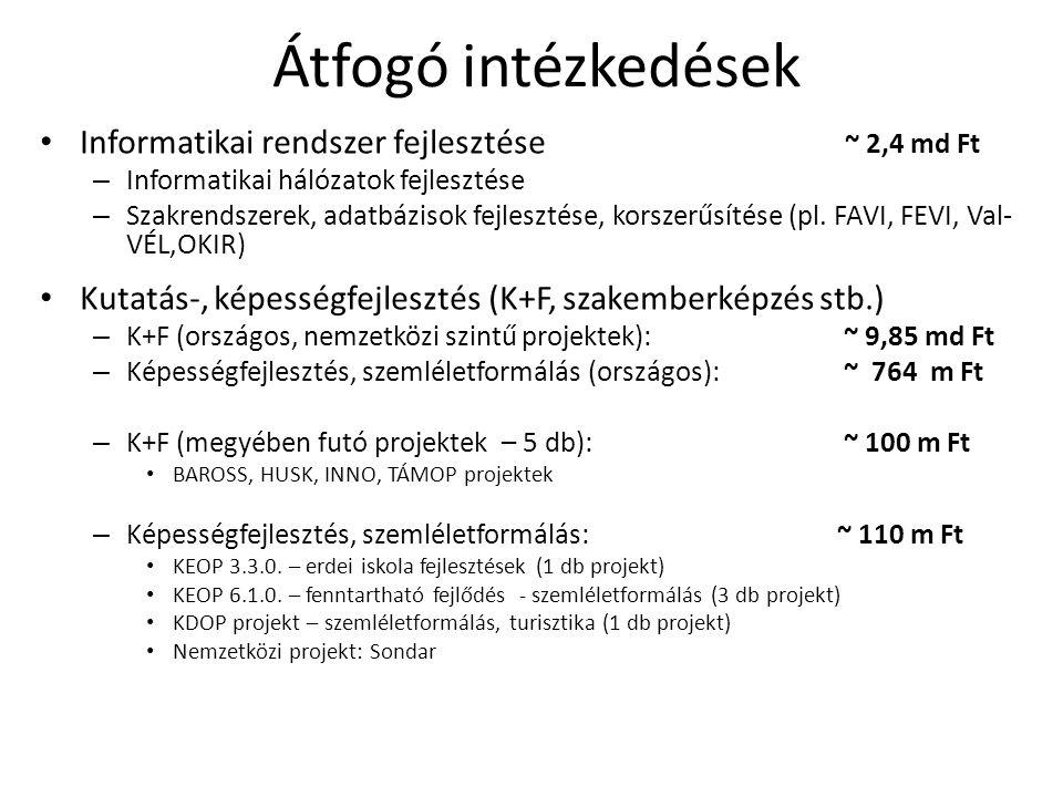 Átfogó intézkedések Informatikai rendszer fejlesztése ~ 2,4 md Ft