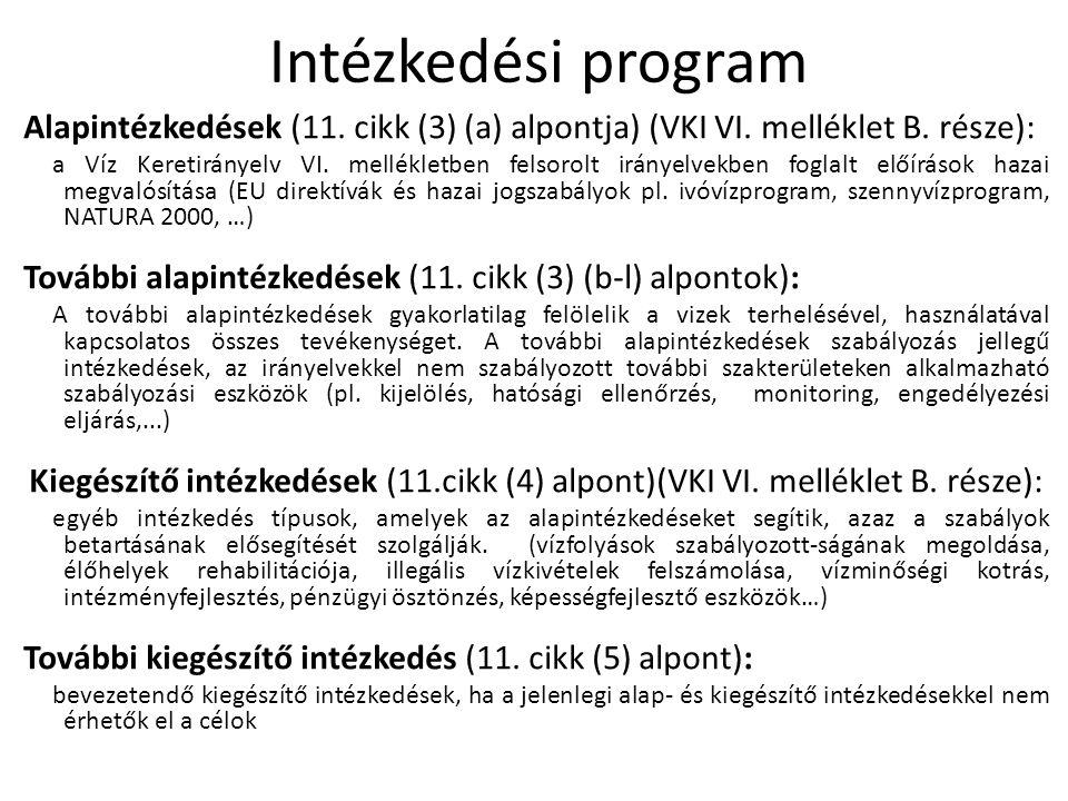 Intézkedési program Alapintézkedések (11. cikk (3) (a) alpontja) (VKI VI. melléklet B. része):