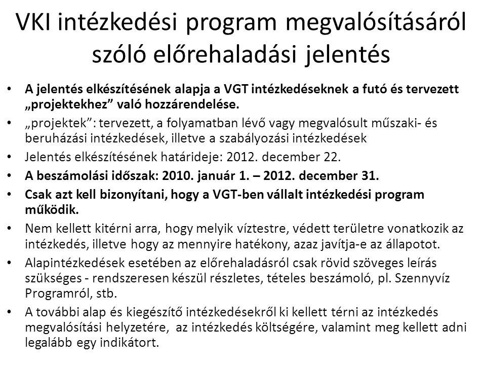 VKI intézkedési program megvalósításáról szóló előrehaladási jelentés