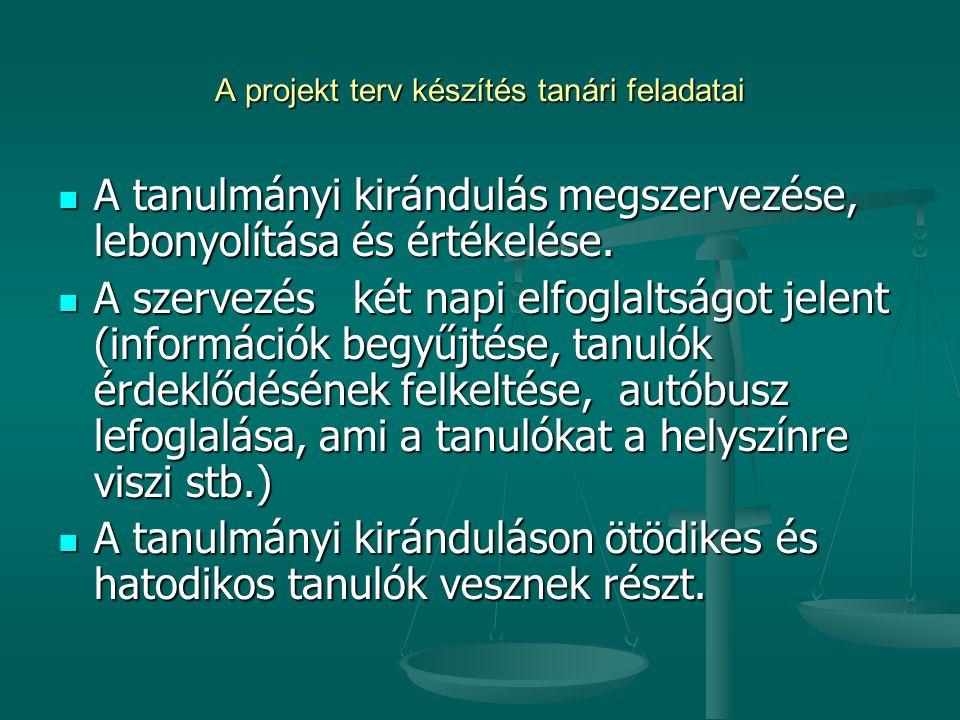A projekt terv készítés tanári feladatai