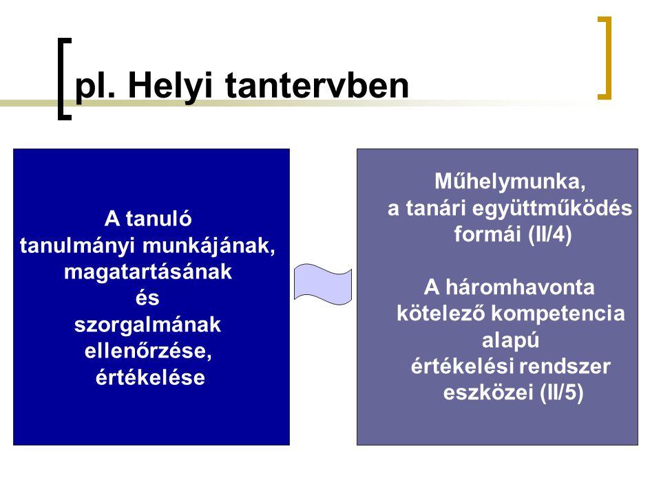 tanulmányi munkájának, a tanári együttműködés