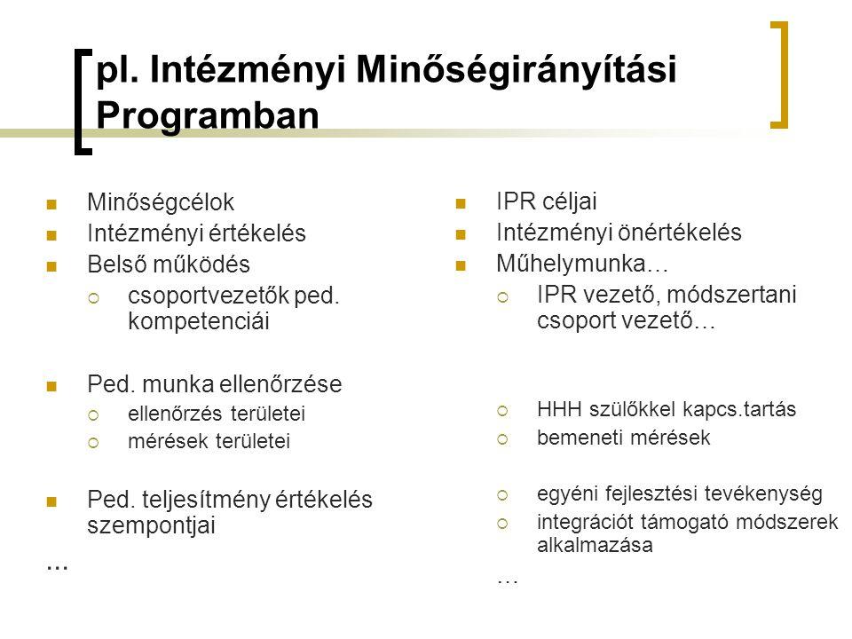 pl. Intézményi Minőségirányítási Programban