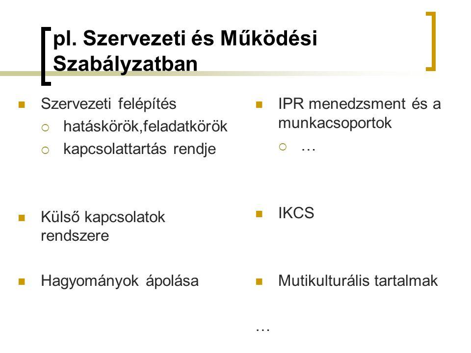 pl. Szervezeti és Működési Szabályzatban