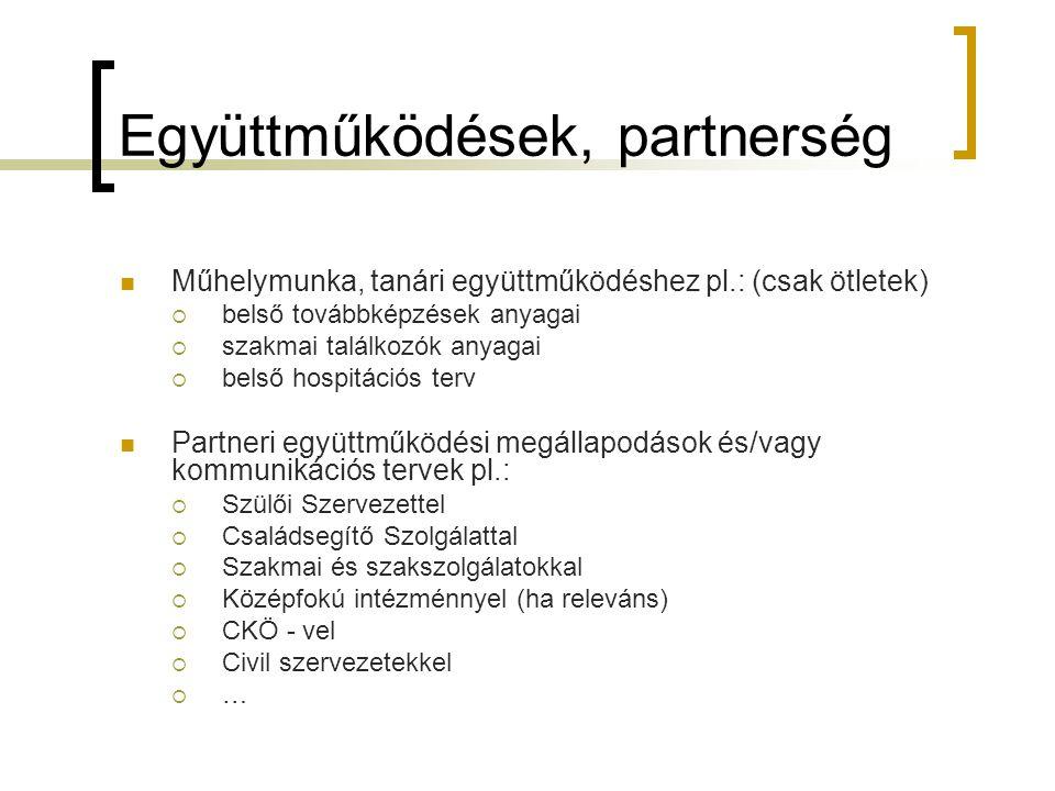 Együttműködések, partnerség