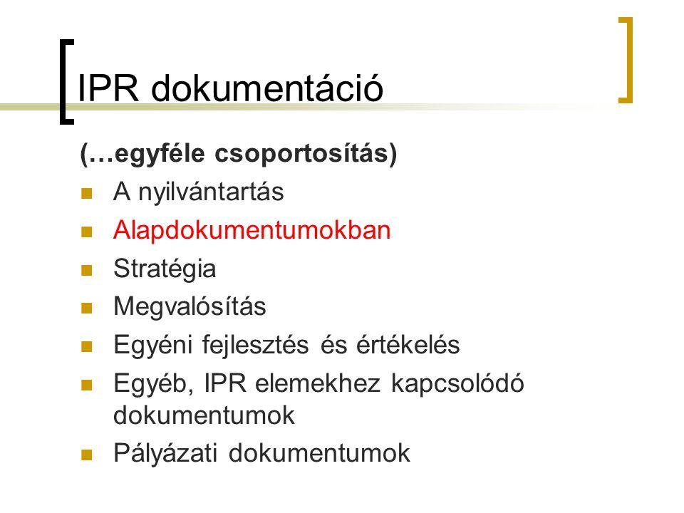 IPR dokumentáció (…egyféle csoportosítás) A nyilvántartás