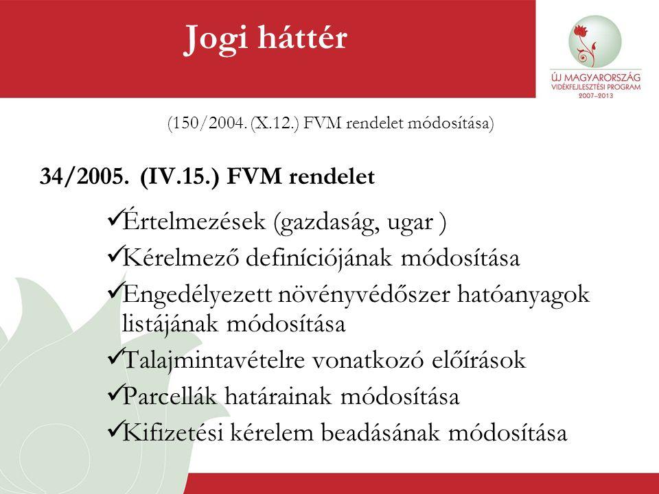 (150/2004. (X.12.) FVM rendelet módosítása)