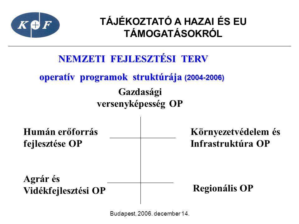NEMZETI FEJLESZTÉSI TERV operatív programok struktúrája (2004-2006)