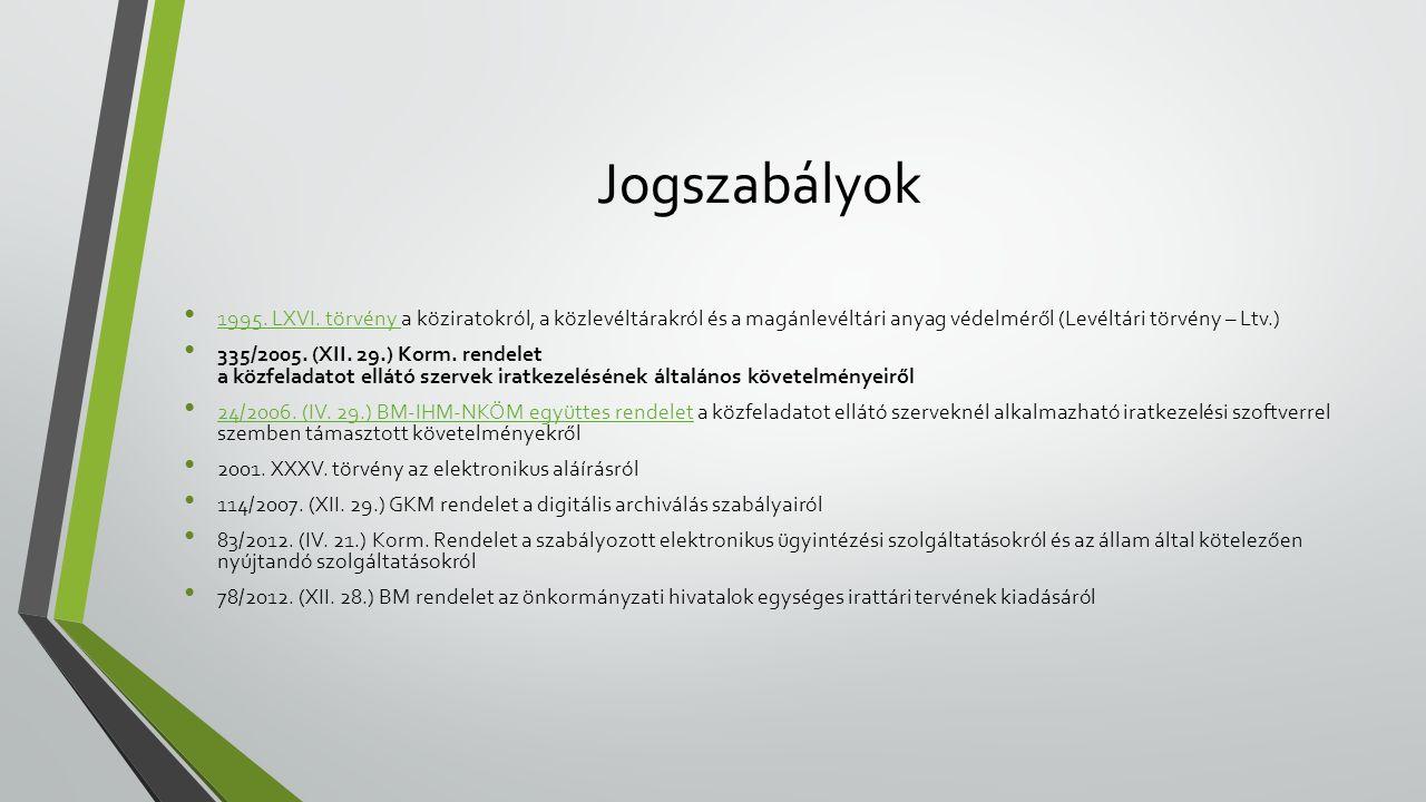 Jogszabályok 1995. LXVI. törvény a köziratokról, a közlevéltárakról és a magánlevéltári anyag védelméről (Levéltári törvény – Ltv.)