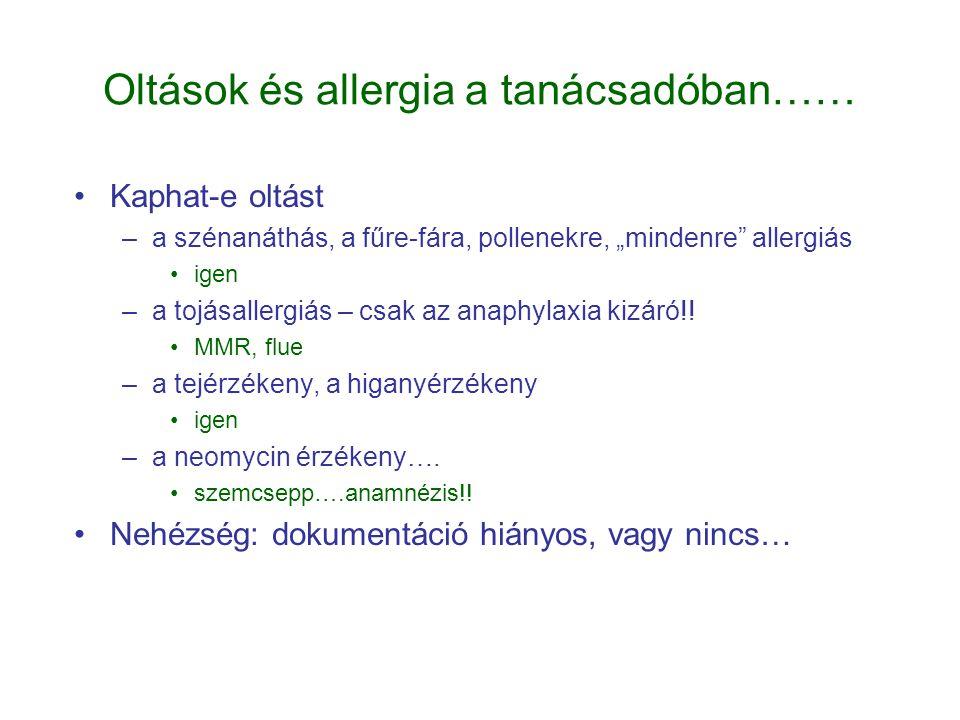 Oltások és allergia a tanácsadóban……