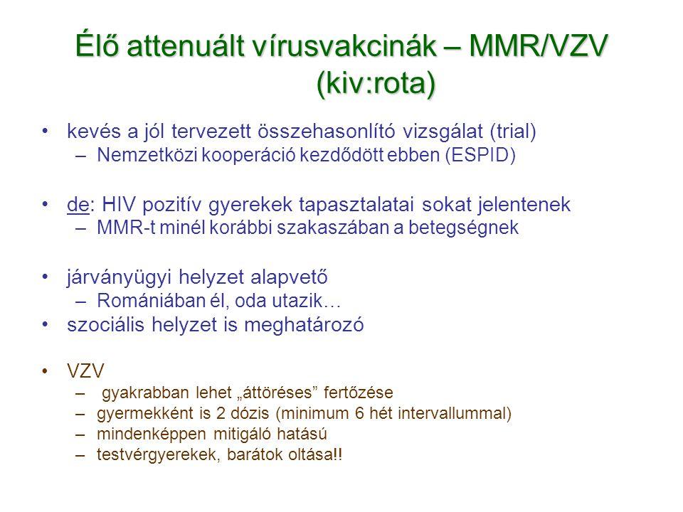 Élő attenuált vírusvakcinák – MMR/VZV (kiv:rota)