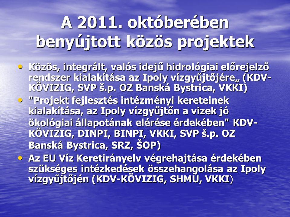 A 2011. októberében benyújtott közös projektek