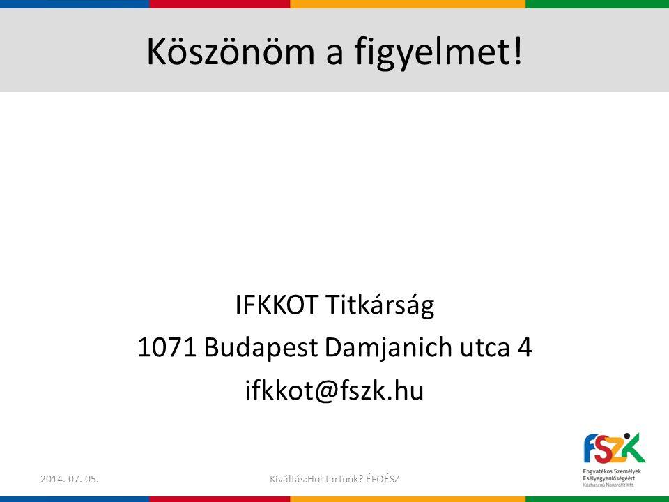 Köszönöm a figyelmet. IFKKOT Titkárság 1071 Budapest Damjanich utca 4 ifkkot@fszk.hu 2017.04.04.
