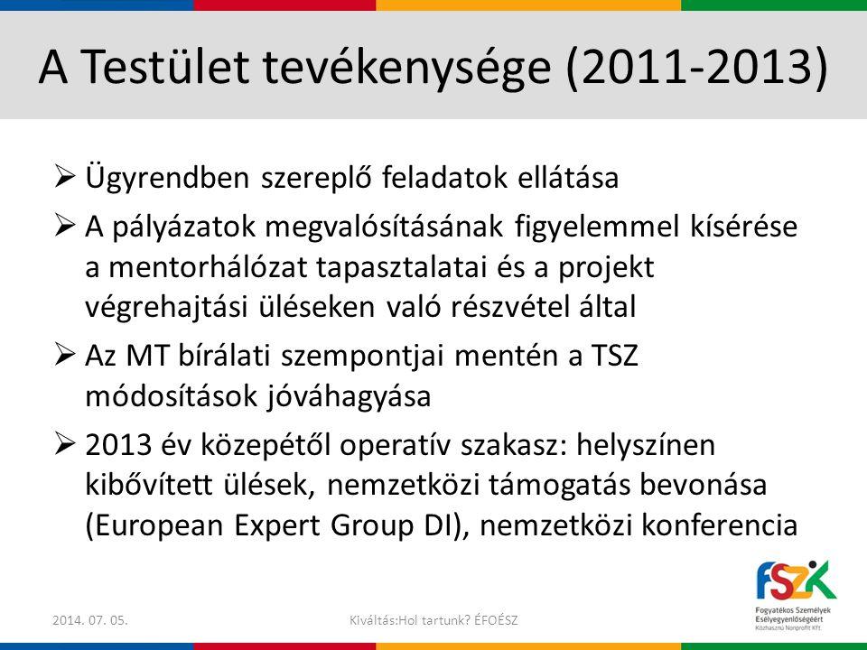 A Testület tevékenysége (2011-2013)
