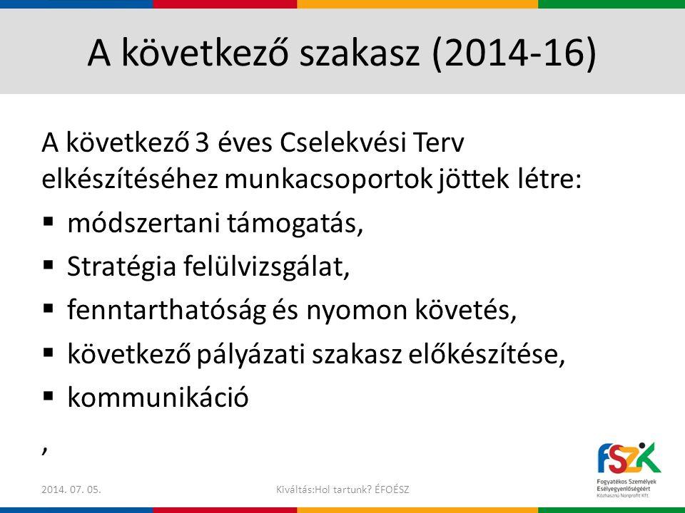 A következő szakasz (2014-16)