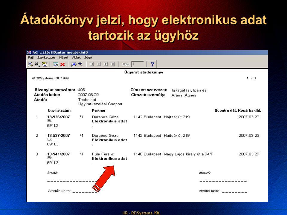 Átadókönyv jelzi, hogy elektronikus adat tartozik az ügyhöz