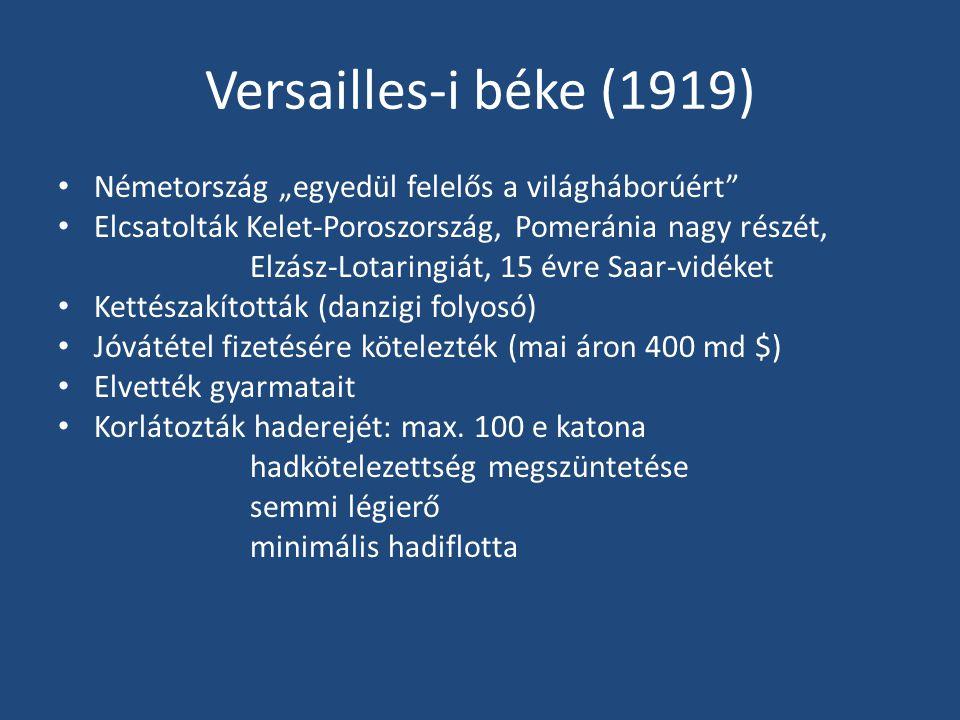 """Versailles-i béke (1919) Németország """"egyedül felelős a világháborúért Elcsatolták Kelet-Poroszország, Pomeránia nagy részét,"""