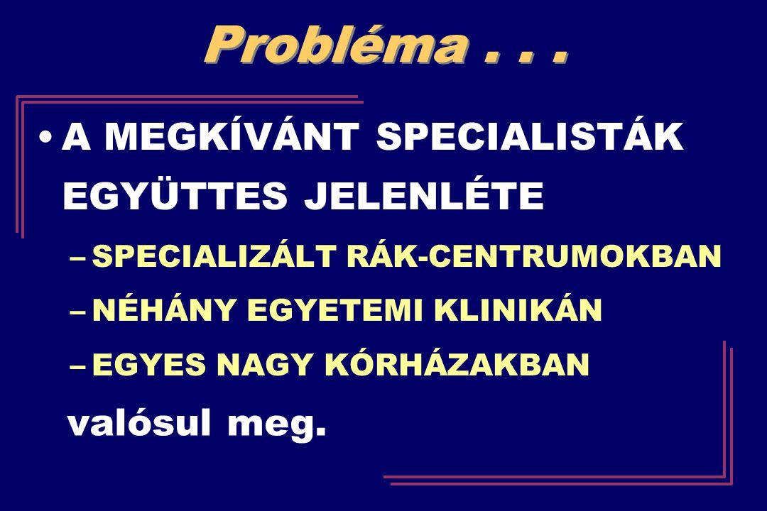Probléma . . . A MEGKÍVÁNT SPECIALISTÁK EGYÜTTES JELENLÉTE