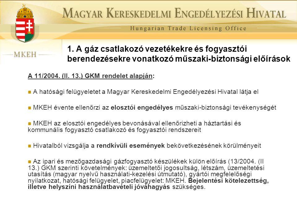 1. A gáz csatlakozó vezetékekre és fogyasztói berendezésekre vonatkozó műszaki-biztonsági előírások