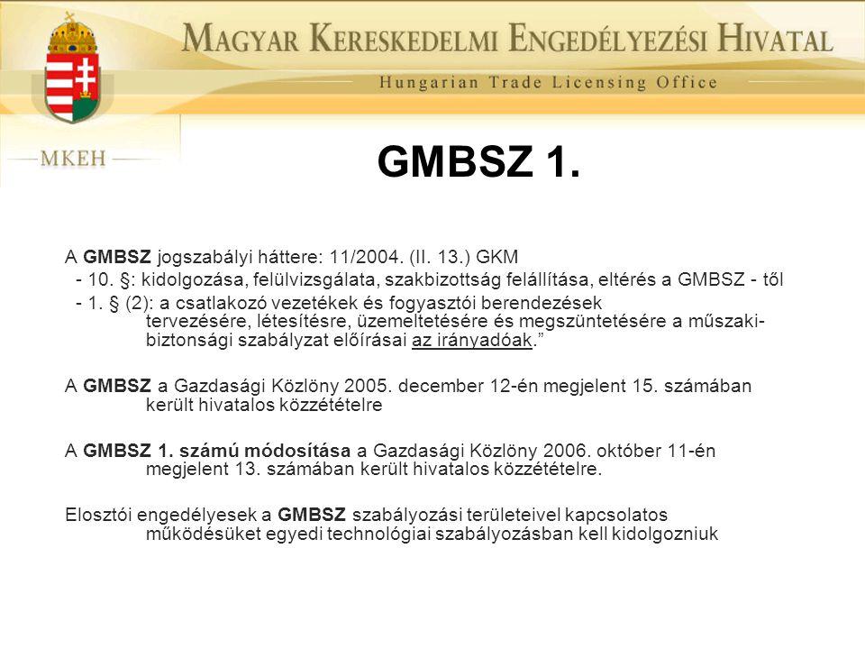 GMBSZ 1. A GMBSZ jogszabályi háttere: 11/2004. (II. 13.) GKM