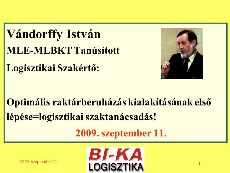 Vándorffy István MLE-MLBKT Tanúsított Logisztikai Szakértő: Optimális raktárberuházás kialakításának első lépése=logisztikai szaktanácsadás! 2009. szeptember 11.