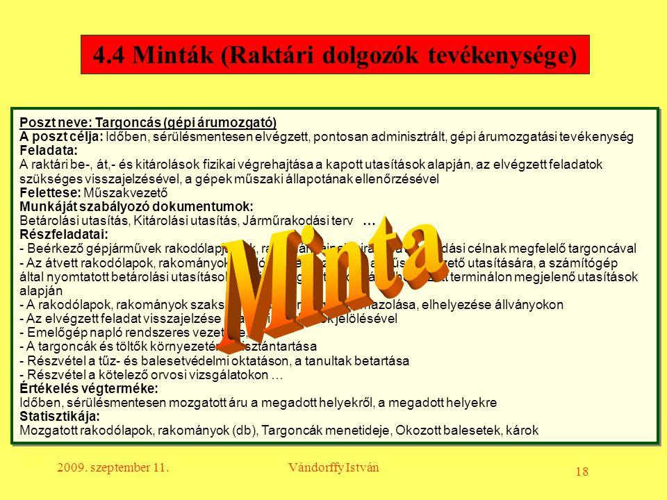 4.4 Minták (Raktári dolgozók tevékenysége)