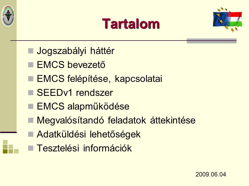 Tartalom Jogszabályi háttér EMCS bevezető EMCS felépítése, kapcsolatai