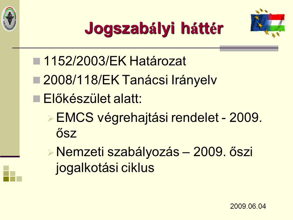 Jogszabályi háttér 1152/2003/EK Határozat 2008/118/EK Tanácsi Irányelv