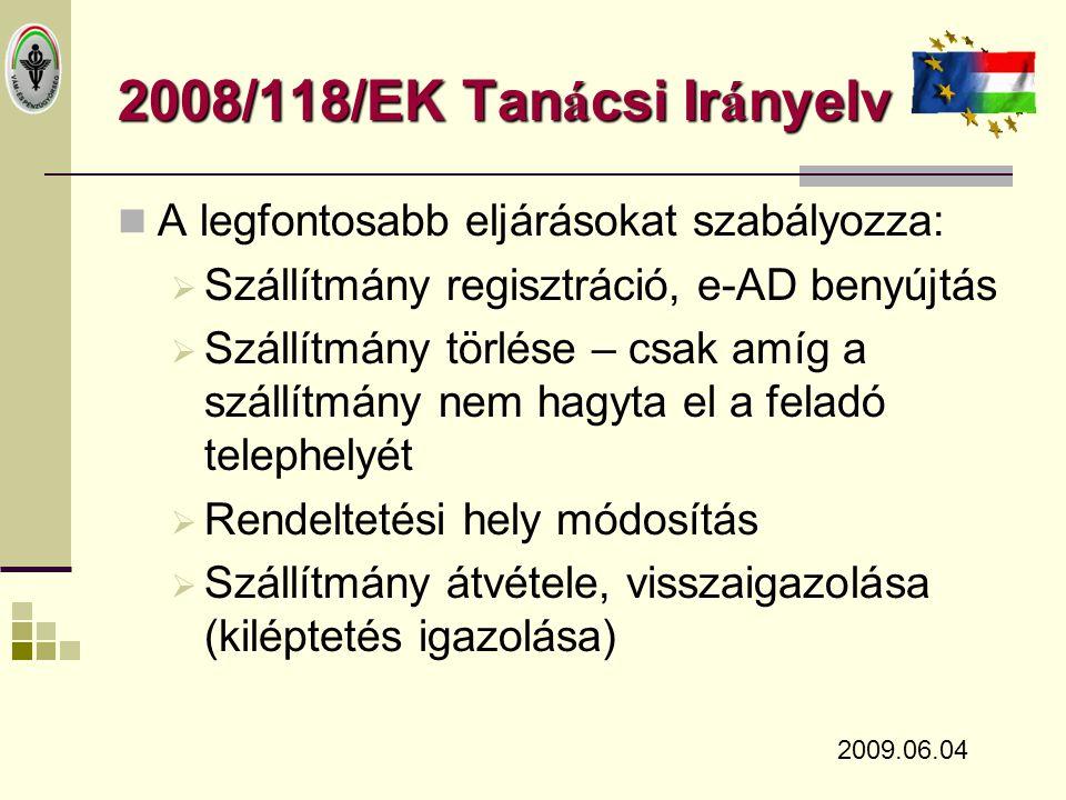 2008/118/EK Tanácsi Irányelv A legfontosabb eljárásokat szabályozza: