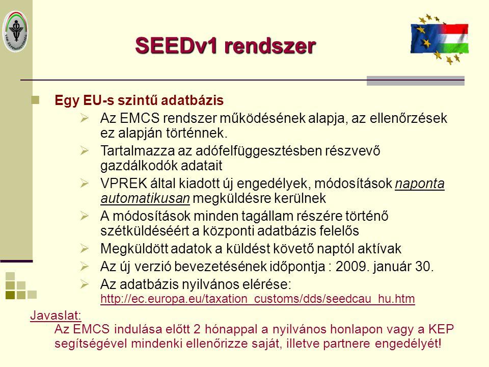 SEEDv1 rendszer Egy EU-s szintű adatbázis