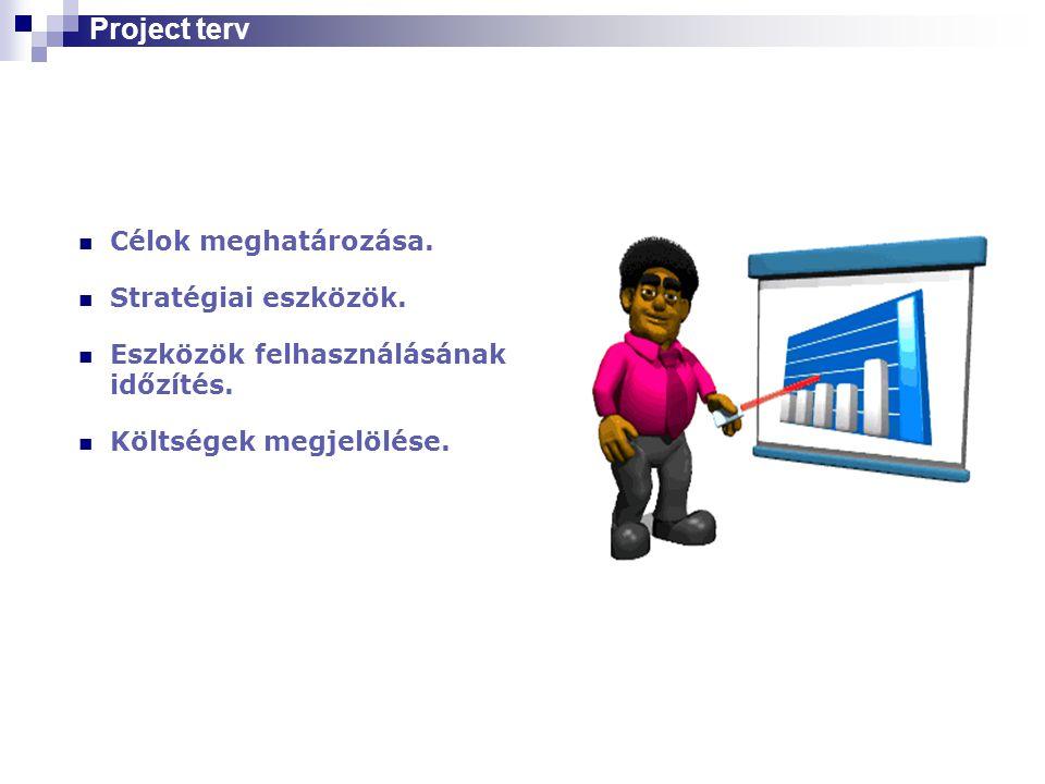 Project terv Célok meghatározása. Stratégiai eszközök.