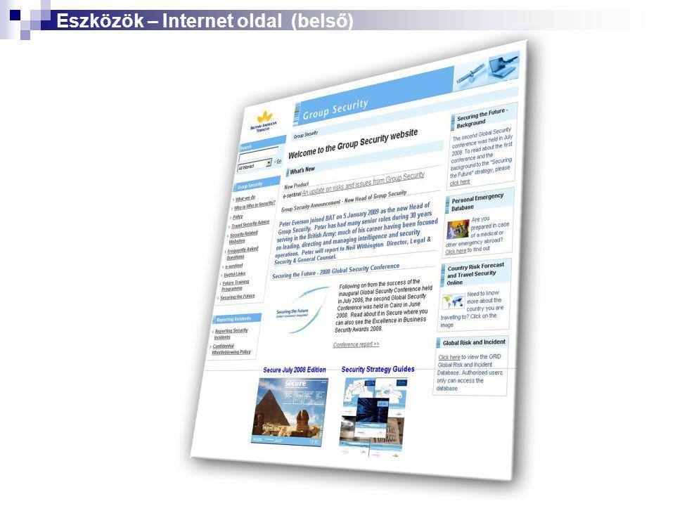 Eszközök – Internet oldal (belső)
