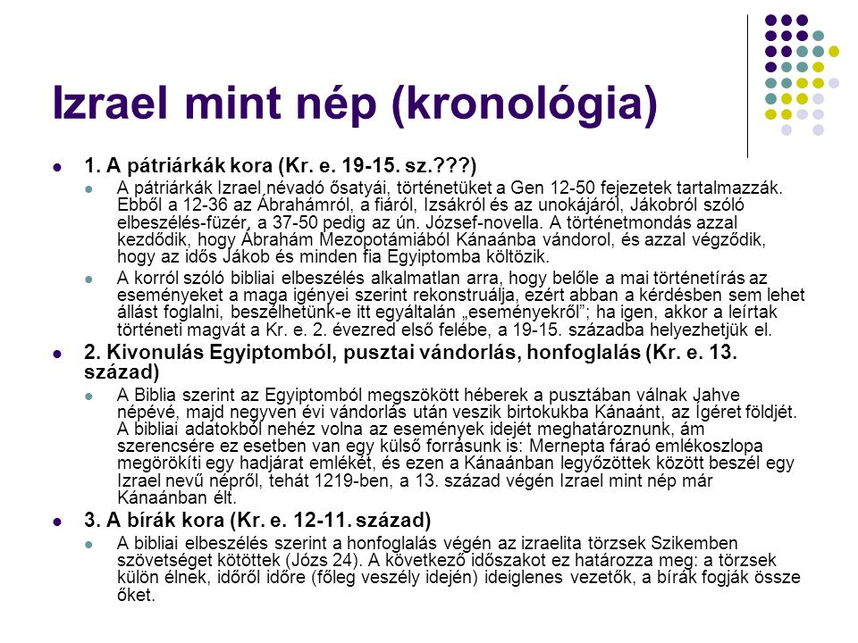 Izrael mint nép (kronológia)