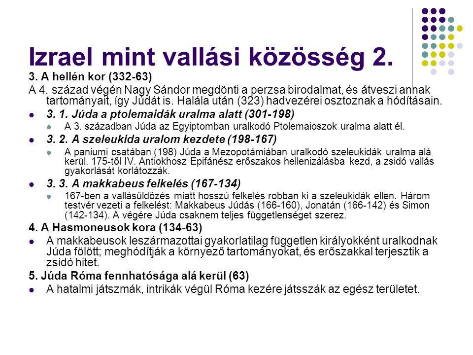 Izrael mint vallási közösség 2.