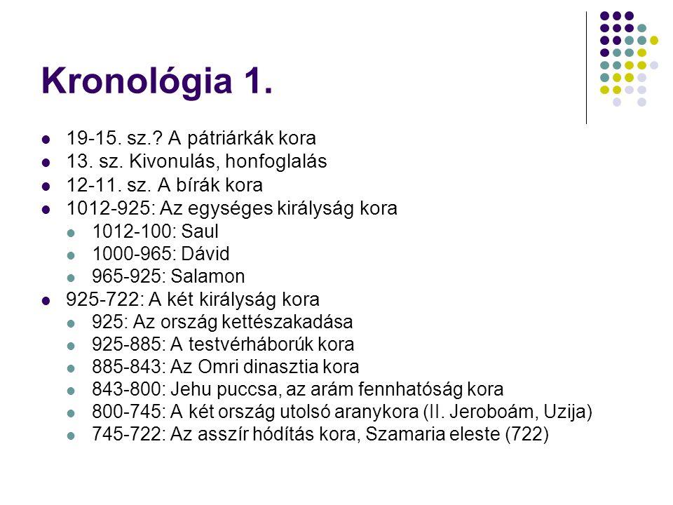 Kronológia 1. 19-15. sz. A pátriárkák kora