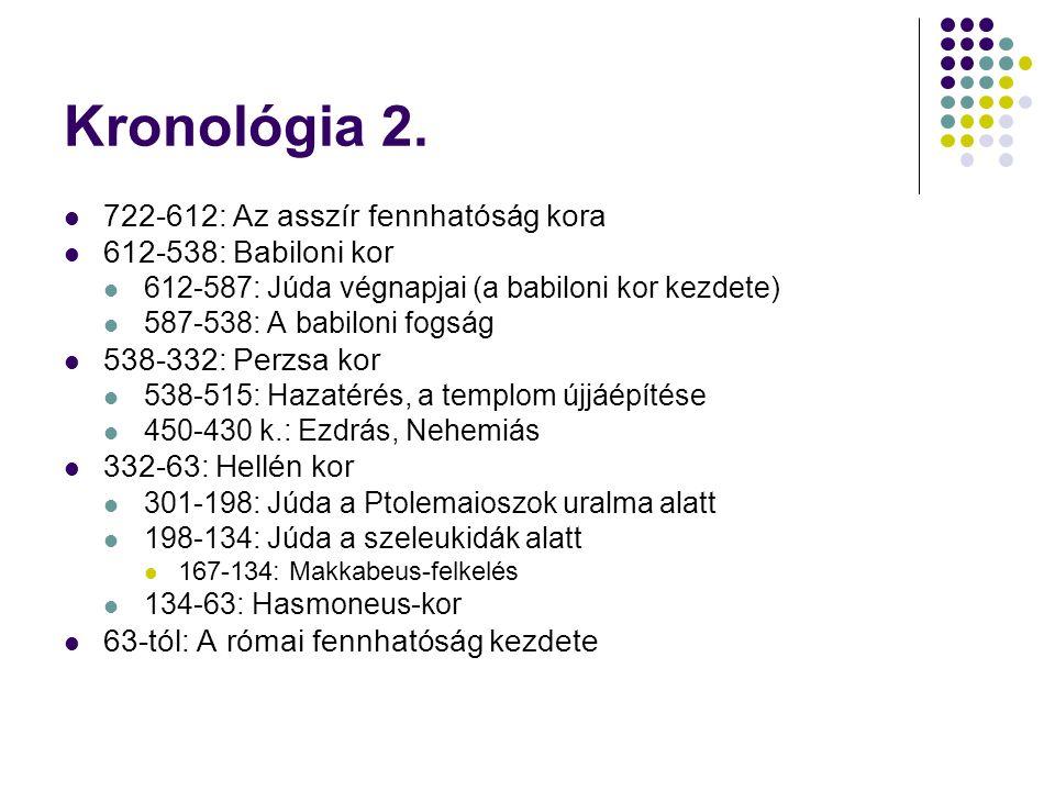 Kronológia 2. 722-612: Az asszír fennhatóság kora