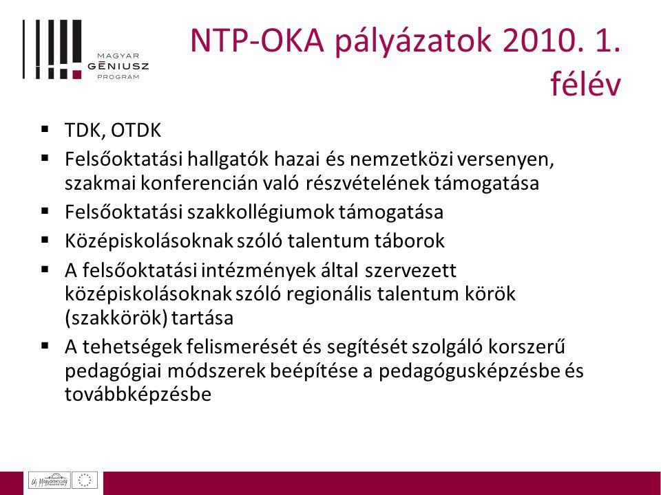 NTP-OKA pályázatok 2010. 1. félév