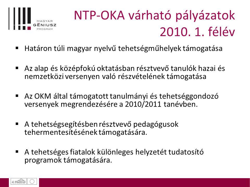 NTP-OKA várható pályázatok 2010. 1. félév