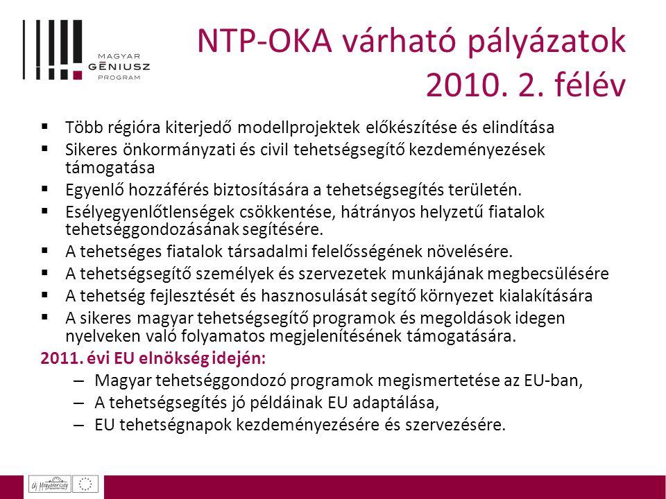 NTP-OKA várható pályázatok 2010. 2. félév