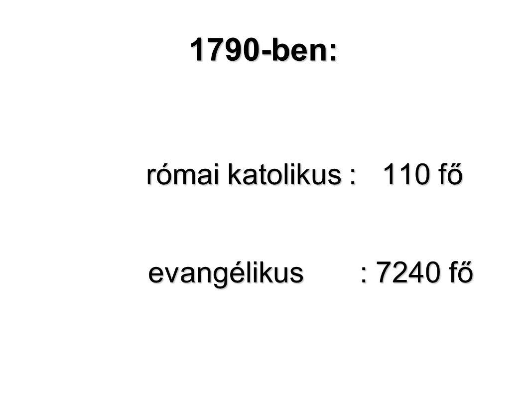 római katolikus : 110 fő evangélikus : 7240 fő